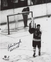 John Bucyk Boston Bruins Autographed 8'' x 10'' Black and White With Cup Photograph with HOF 81 Inscription