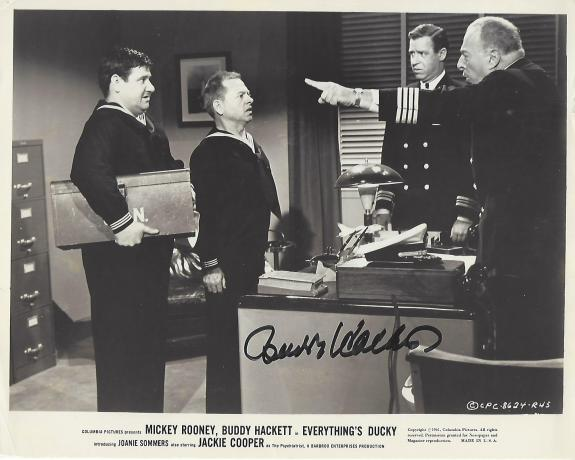 """BUDDY HACKETT as JOHN PAUL JONES in 1961 Movie """"EVERYTHING'S DUCKY"""" 1961 Photo with Wear and Creases (Passed Away 2003) JSA COA - Signed 10x8 B/W Photo"""