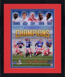 """Framed Buffalo Bills 4 Straight AFC Champs Autographed 16"""" x 20"""" Photograph with """"HOF"""" Inscription"""