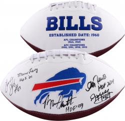 Buffalo Bills Autographed White Panel Football with 5 Signatures and HOF Inscription