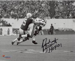 Nick Buoniconti Miami Dolphins Autographed 8'' x 10'' Black and White Tackle Photograph with HOF 01 inscription