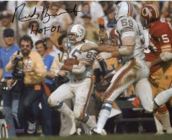 Nick Buoniconti Miami Dolphins Autographed 8'' x 10'' Super Bowl Black and White With Ball Photograph with HOF 01 inscription