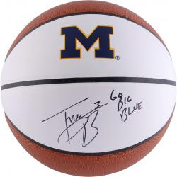 Trey Burke Michigan Wolverines Autographed White Panel Basketball With Go Big Blue Inscription