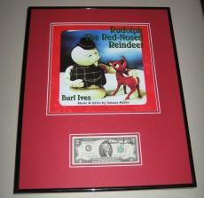 Burl Ives Signed Framed $2 Bill & Rudolph Red Nosed Reindeer Photo Display