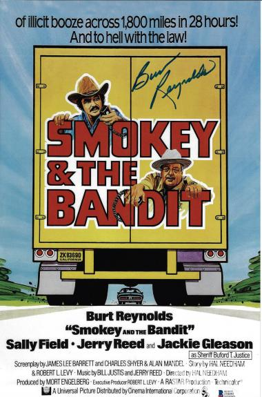 Burt Reynolds Signed 11x17 Smokey and the Bandit Movie Poster Photo - Beckett 2