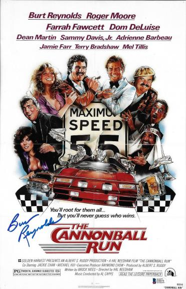 Burt Reynolds Signed 11x17 The Cannonball Run Movie Poster Photo - Beckett BAS