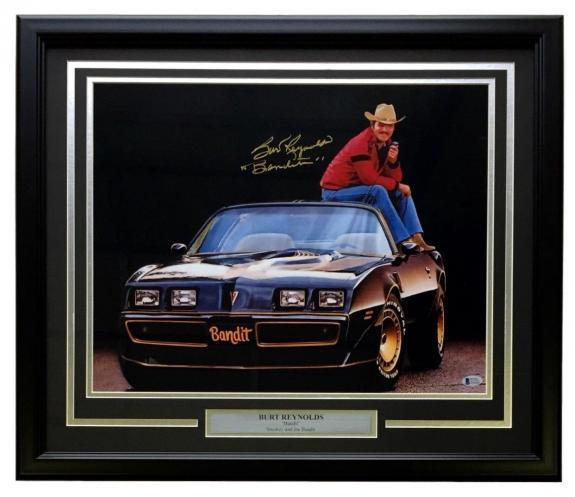 Burt Reynolds Signed Framed 16x20 Smokey And The Bandit Photo Bandit Inscr BAS