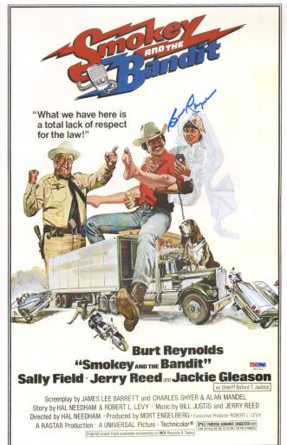 Burt Reynolds Signed Smokey and The Bandit 11x17 Movie Poster PSA/DNA COA Auto'd