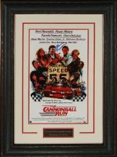 Burt Reynolds signed The Cannonball Run 11x17 Movie Poster Leather Framed- Steiner Hologram (movie/entertainment)