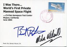 Burt Rutan+mike Melvill Hand Signed Postcard+coa     Very Rare     Spaceship One
