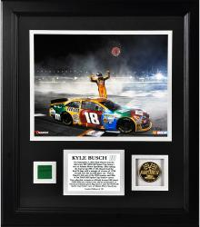 Kyle Busch 2013 AdvoCare 500 Race Winner Framed 8'' x 10'' Photograph with Coin & Race-Used Flag - Mounted Memories