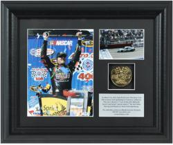 Kyle Busch 2013 Auto Club 400 Race Winner Framed 2-Photo Collage with Plate & Gold Coin - Mounted Memories