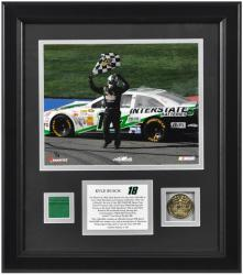 Kyle Busch 2013 Auto Club 400 Winner Framed 8'' x 10'' Photograph with Gold Coin & Race-Used Flag-Limited Edition of 118 - Mounted Memories