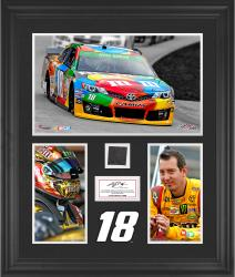 Kyle Busch Framed 3-Photograph Collage with Race-Used Tire-Limited Edition of 500 - Mounted Memories