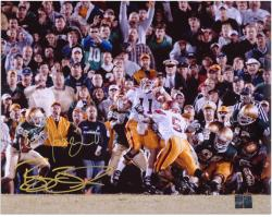 "Reggie Bush and Matt Leinart USC Trojans ""The Push"" Dual Autographed 16"" x 20"" Photograph - Mounted Memories"