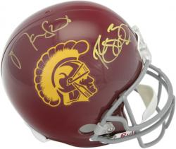 Reggie Bush and Matt Leinart USC Trojans Autographed USC Replica Helmet
