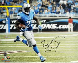 Reggie Bush Detroit Lions Autographed 16'' x 20'' Blue Uniform Running Photograph - Mounted Memories