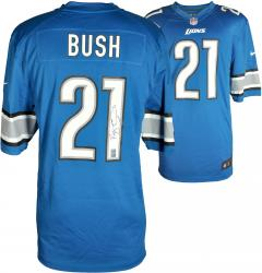 Reggie Bush Detroit Lions Autographed Nike Blue Game Replica Jersey - Mounted Memories