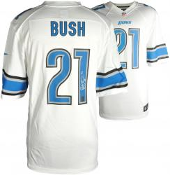 Reggie Bush Detroit Lions Autographed Nike White Game Replica Jersey - Mounted Memories