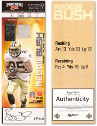Reggie Bush New Orleans Saints Autographed Rookie Ticket with Home Opener Jersey Swatch - Mounted Memories