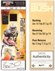 Reggie Bush New Orleans Saints Autographed Rookie Ticket with Opener Jersey Swatch - Mounted Memories