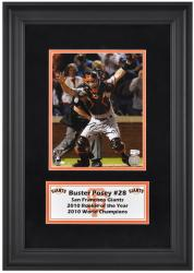"Buster Posey San Francisco Giants Framed Autographed 8"" x 10"" Photograph with ""10 WS CHAMPS"" Inscription"