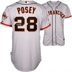 Buster Posey San Francisco Giants Autographed 2014 World Series Grey Jersey