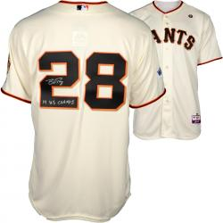 Buster Posey San Francisco Giants Autographed 2014 World Series Home Jersey with 14 WS Champs Inscription