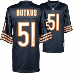 Dick Butkus Chicago Bears Autographed Blue Reebok EQT Jersey with HOF 79 Inscription - Mounted Memories