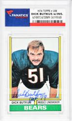 Dick Butkus Chicago Bears Autographed 1974 Topps #230 Card with HOF 79 Inscription - Mounted Memories  - Mounted Memories