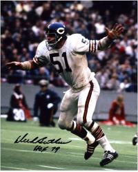 Dick Butkus Chicago Bears Autographed 8'' x 10'' Arms Up Photograph with HOF 79 Inscription - Mounted Memories