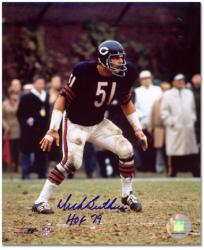 "Dick Butkus Chicago Bears Autographed 8"" x 10"" Defensive Stance Photograph with HOF 79 Inscription"