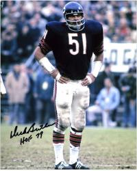 Dick Butkus Chicago Bears Autographed 8'' x 10'' Hands on Hips Photograph with HOF 79 Inscription - Mounted Memories