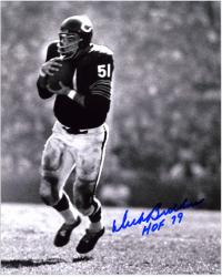 Dick Butkus Chicago Bears Autographed 8'' x 10'' Interception Photograph with HOF 79 Inscription - Mounted Memories