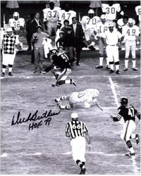 Dick Butkus Chicago Bears Autographed 8'' x 10'' Jump Photograph with HOF 79 Inscription - Mounted Memories