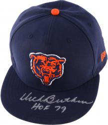 "BUTKUS, DICK AUTO ""HOF 79"" NEW ERA (BEARS/NAVY) CAP - Mounted Memories"