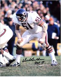 Dick Butkus Chicago Bears Autographed 8'' x 10'' Stance Photograph with HOF 79 Inscription - Mounted Memories