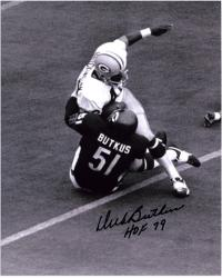 Dick Butkus Chicago Bears Autographed 8'' x 10'' Tackle Black and White Photograph with HOF 79 Inscription - Mounted Memories