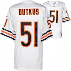 Dick Butkus Chicago Bears Autographed White Reebok EQT Jersey with HOF 79 Inscription - Mounted Memories