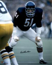 "Dick Butkus Chicago Bears Autographed 16"" x 20"" Waiting For Play Photograph with HOF 1979 Inscription"