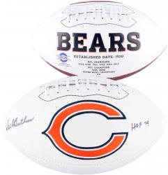 Dick Butkus Chicago Bears Autographed White Panel Football with HOF 79 Inscription - Mounted Memories