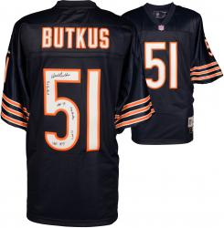 Dick Butkus Chicago Bears Autographed Reebok Blue Jersey with Multiple Inscriptions - #51 of a Limited Edition of 51 - Mounted Memories