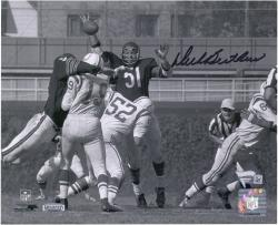 Dick Butkus Chicago Bears Autographed 8'' x 10'' Horizontal Unitas Swat Blue Ink Photograph - Mounted Memories