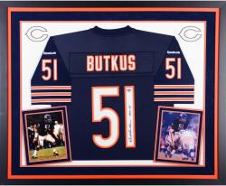 Dick Butkus Chicago Bears Autographed Deluxe Framed Reebok EQT Blue Jersey with HOF 79 Inscription