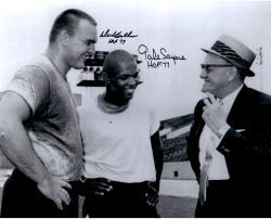 Dick Butkus & Gale Sayers Chicago Bears Autographed 16'' x 20'' With Halas Photograph with HOF 77 & HOF 79 Inscription