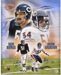 Dick Butkus and Brian Urlacher Chicago Bears Dual Autographed 16'' x 20'' Collage Photograph with HOF 79 Inscription - Mounted Memories