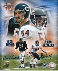 Dick Butkus and Brian Urlacher Chicago Bears Autographed 8'' x 10'' Collage Photograph - Mounted Memories