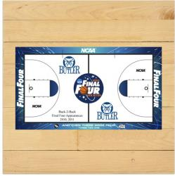 Butler Bulldogs 2011 Men's Final Four Game-Used 6'' x 6'' Court Piece with Floor logo - Mounted Memories