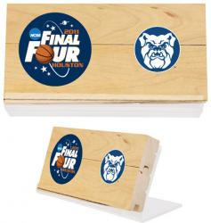"""Butler Bulldogs 2011 Men's Final Four Game-Used 3"""" x 5"""" Court Piece with Acrylic Stand and Logos"""