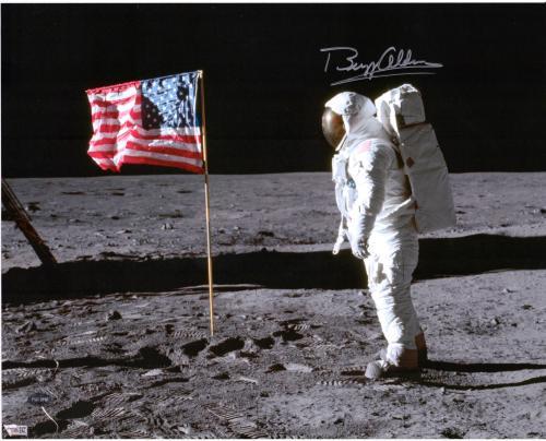 """Buzz Aldrin Autographed 16"""" x 20"""" Moon Landing Photograph - PSA/DNA"""